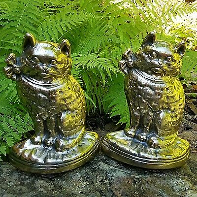 ~RARE~Gorgeous Vintage Solid Brass Cat Kitty Kitten Book ends~ESTATE FIND!!~