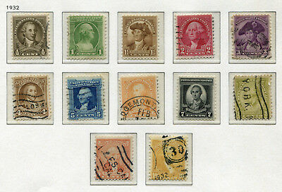 1932 USA.  Birth Bicentenary of George Washington.  Full set of 12 USED.