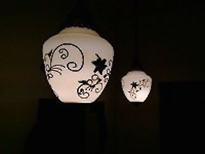 Pair of Vintage Mid Century Light Hollywood Regency Hanging Lamps, Floral, Brass