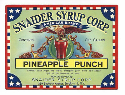Pineapple Punch Snaider Syrup Vintage Label Colorful 5¼ x 4 Am Eagle Anchor