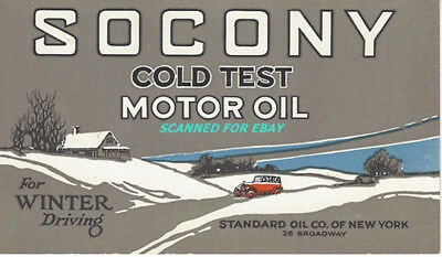 Socony Motor Oil Blotter Cold Test for Winter Driving 5½ x 3¼ Unused