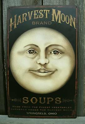 Old Vtg Look,HARVEST MOON Rustic Metal Country Store Wall Sign-Kitchen Decor-New