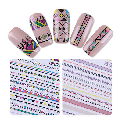 Nail Art Transfer 3D Stickers Ethnic style Geometric Strip Lines Adhesive Decor