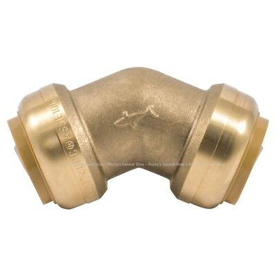 SharkBite Push-to-Connect 45-Degree Elbow Fitting Brass 3/4 or 1 inch