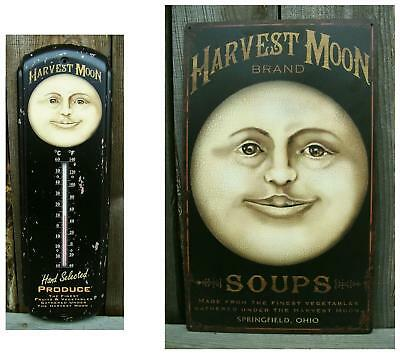 Old Vtg Look,HARVEST MOON Rustic Tin/Metal Wall Sign & Thermometer-Kitchen Decor