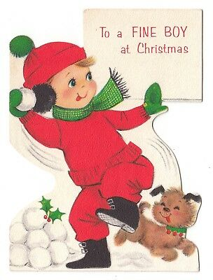 UNUSED Vintage Greeting Card Christmas Little Boy Dog Snowballs Hallmark L16