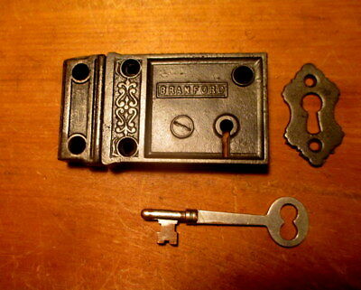 Old 1875 Ornate Iron Rim Lock Door Dead Bolt Hardware Branford Lock Works w/Key