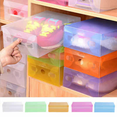 Home Plastic Shoe Box Clear Shoe Boot Box Stackable Foldable Storage Organizer