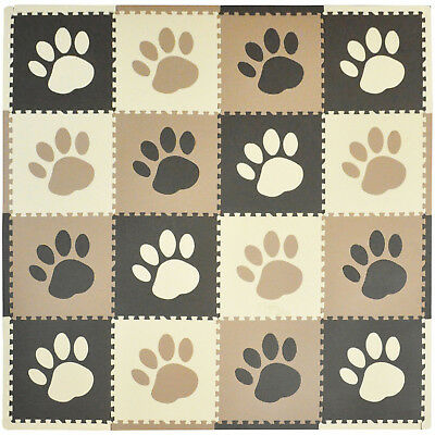 Playmat Tadpoles Set 16pc Pawprint Brown Toy Removable Center Baby Activity NEW