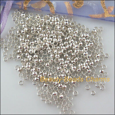 500Pcs Silver Plated Smooth Round Ball Copper Crimp Beads Charms 2mm