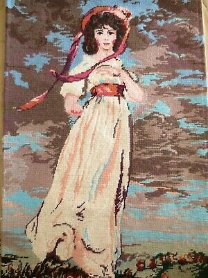 Tapestry Vintage Pink Girl Completed & Framed Professionally Worked And Framed