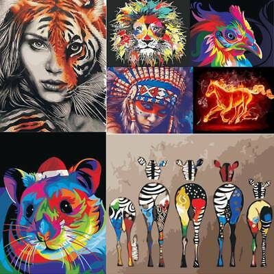 DIY Animals Paint By Number Kit Digital Oil Painting Canvas Office Home Decor AU