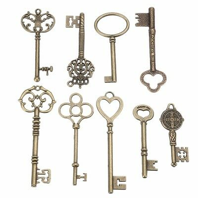 9pcs Vintage Antique Old Brass Skeleton Keys Lot Cabinet Barrel Lock Set Large