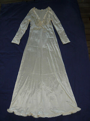 DIAMOND CUT Long Nightie Size 10 - 12 Classic Vintage 60s Satin Lounge Wear