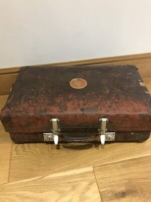 -Vintage- Large Brown Hard  Suitcase Luggage Bag Storage Trunk Chest Box, Revel