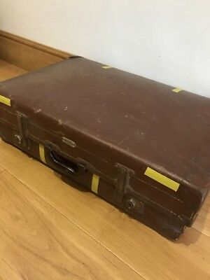 -Vintage- Large Brown Hard  Suitcase Luggage Bag Storage Trunk Chest Box, ❤️