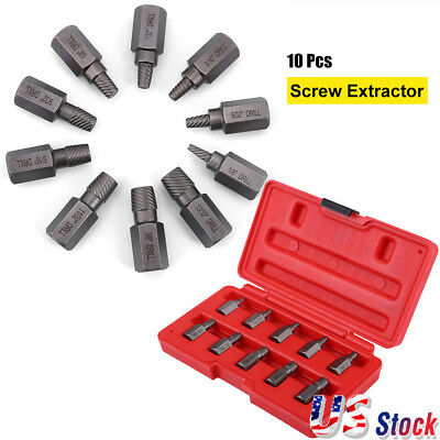 10x Screw Extractor Drill Bits Guide Set Broken Damaged Bolt Remover Easy Out US