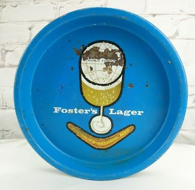 Vintage Fosters Lager Beer Tray Round Blue Man Cave Circa 1960s 1970s Retro