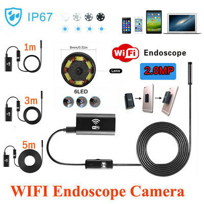720P 5m WiFi 8mm Endoscope Borescope Snake Inspection Camera for Android iPhone