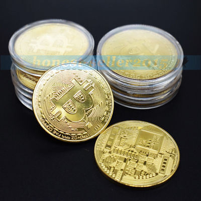 Gold Bitcoin Coin Commemorative Coins Physical Miner Bit BTC Collect With Case