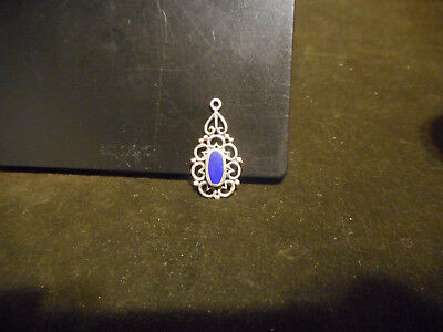 Vintage Sterling Silver Charm with blue Lapis stone inlayed