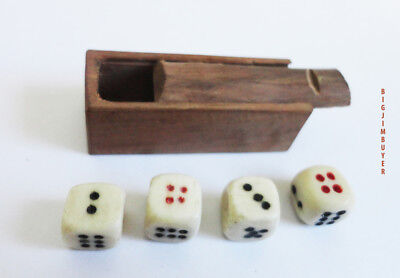 Vintage Wood Coffin With Bone Dice From Bone & Bamboo Mah Jong Set