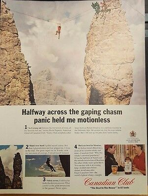 Canadian Club Dolomite Alps 1200 Mountain Climbing Misurina Whisky Vintage Ad