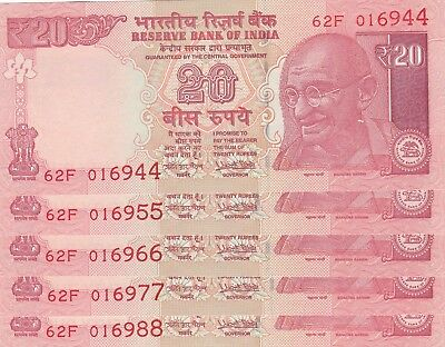 Indian 20 Rupees 5 Notes Sig.Urujit Patel Ref.P103 2017 w/o Letter double digits