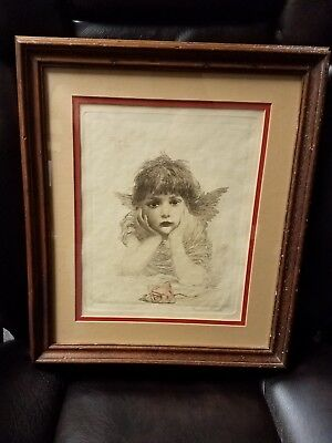 """"""" Cupid in Trouble"""" print / etching by F. M. Spiegle 1863-1942"""