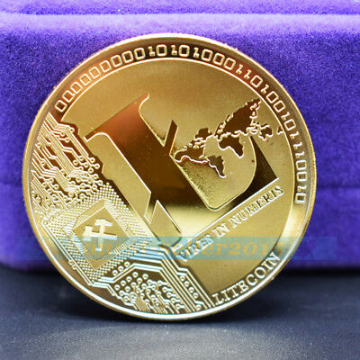 Gold Plated Litecoin Coin Commemorative Physical Collectible Miner Coins Case