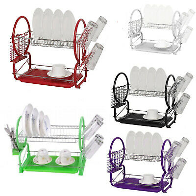 2 Tier Dish Drainer Chrome Plate  Cutlery Cup Rack Drip Tray Plates Holder New