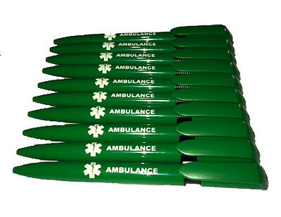 10 x Quality Pens Branded AMBULANCE with Black Ink - Paramedic First Responder
