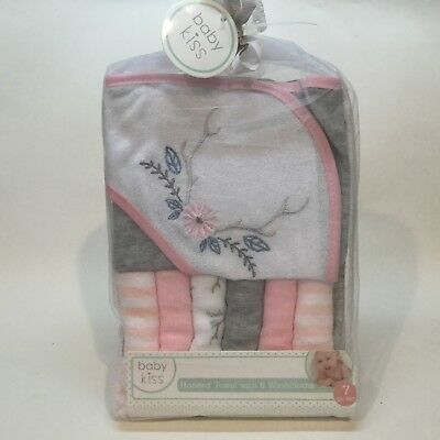 BABY KISS ❤ GIRL'S Hooded Towel Set with 6 Washcloths