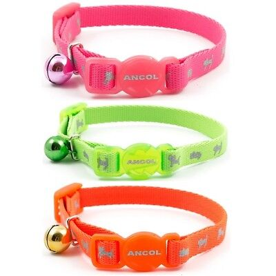 Ancol Small Cat / Kitten Hi-Vis Reflective Safety Collar Buckle & Warning Bell
