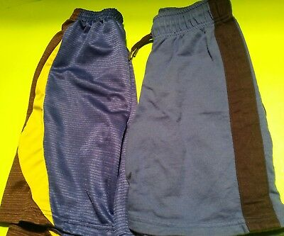 Lot of 2 Boys Athletic Shorts Blue with Stripes, Size 6/7