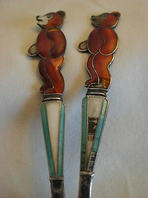 PAIR OF RUSSIAN 916 SILVER ENAMEL TEA SPOONS - 60 grams-