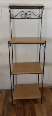 Longaberger Wrought Iron 4 Tier Shelf Unit With 4 Woodcraft Shelves