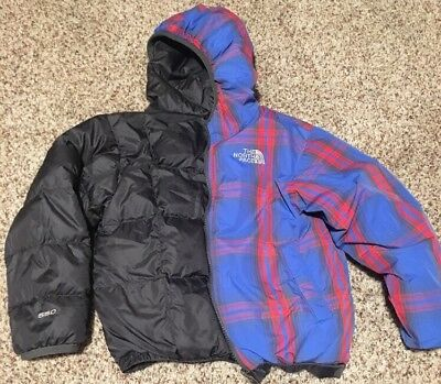 The Northface 550 Fill Down Jacket Boys Toddler Reversible Sz 5 (XXS) Red Blue