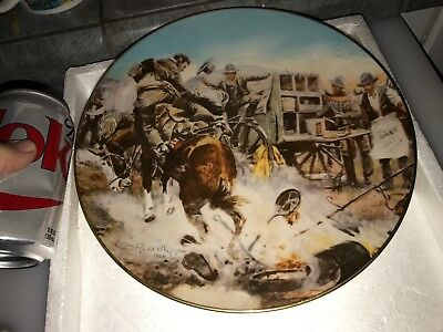 """GORHAM """" A BRONC TO BREAKFAST """" WILDWEST 1st in Series Limited Ed PLATE w/ BOX f"""
