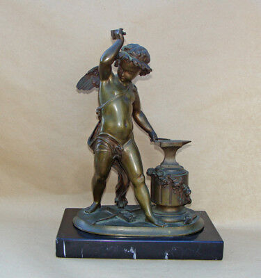 Bronze Statue  Sculpture  CUPID with ARROWS & ANVIL  ...  older item.