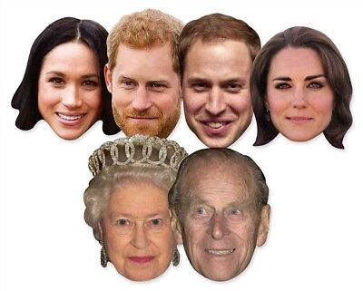 Royal Wedding 2018 Face Masks - 6 Pack inc Harry, Meghan & The Queen