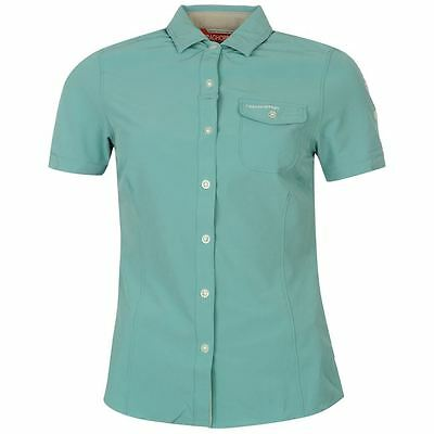 Craghoppers NosiLife Pro Short Sleeve Stretch Shirt UK 10 (s) Turquoise Blue