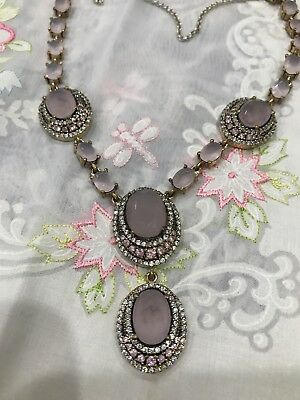 Gorgeous Antique Vintage Silver 925 Necklace With Pink Quartz And Sapphires