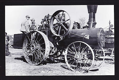 Real Photographic Postcard RPPC Mt Pleasant IA Early Vintage Farm Steam Tractor