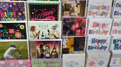 SUPERB GENERAL B/DAY CARD MIX X 300 CARDS, JUST 26p, 50 DESIGNS X 6, WRAPPED,