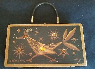 c1965 Enid Collins of Texas Iconic Roadrunner Design Jeweled Wood Box Purse