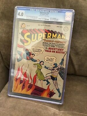 Superman 76 CGC 4.0 OW Pages Classic Batman Cover Rare Golden Age Key Investment