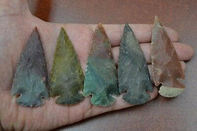 "5 Pcs Assort Agate Stone Spearhead Arrowhead Point 2 1/2"" - 3"" #t-1345"