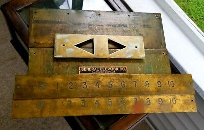 Architectural Salvage Brass Atomic Vintage Elevator Lobby Plate Plaque Set of 5