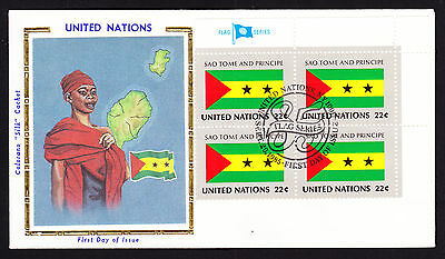 Sao Tome & Principe National Flag UN stamps Native Costume Map cachet cover FDC